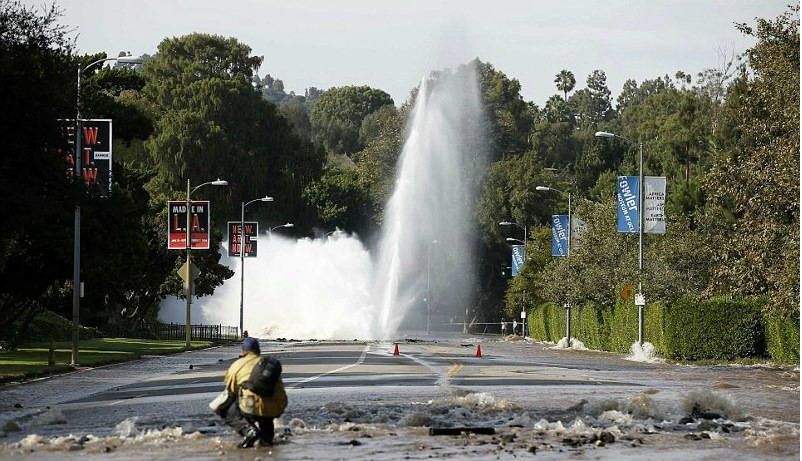 LA Water Main Ruptured Flooded Campus and Beverly Hills